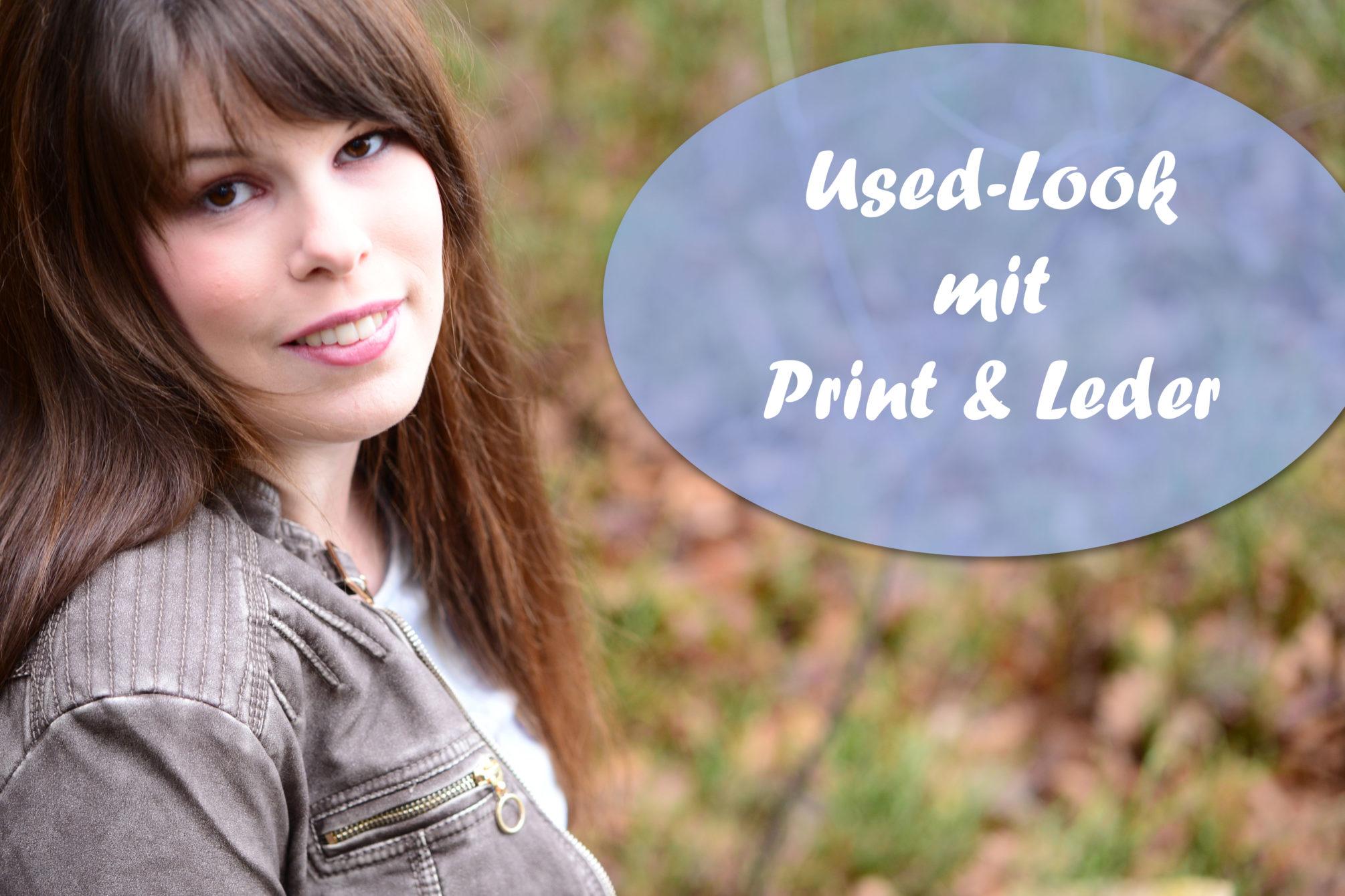 Outfit: Used-Look mit Print & Leder