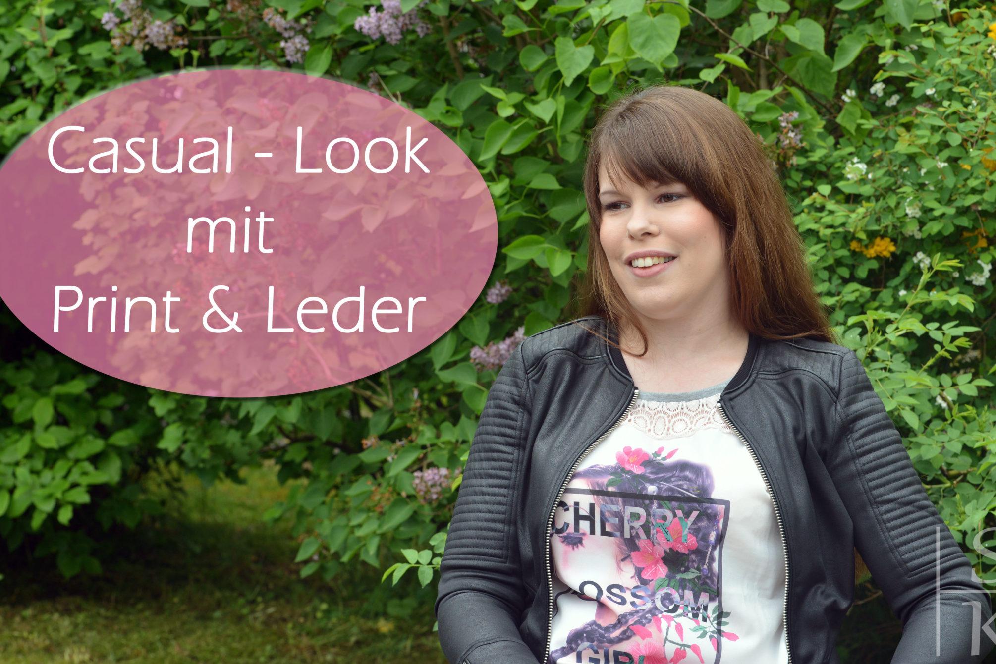 Casual-Look mit Print und Leder
